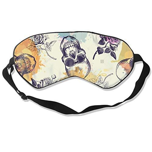 Eye Mask Pattern Skulls Rose Flowers Unique Eyeshade Sleep Mask Soft for Sleeping Travel for Women -
