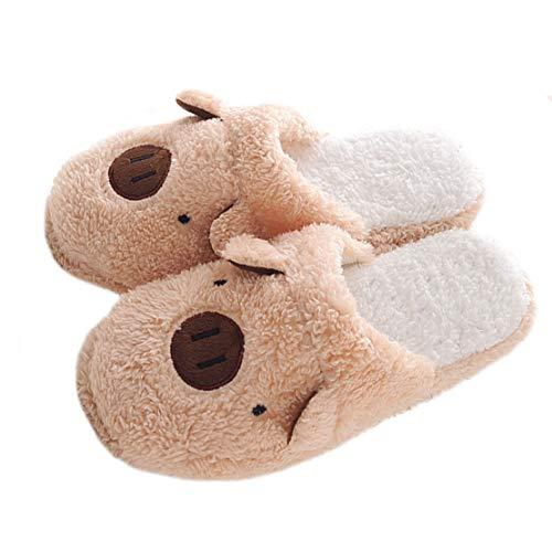 Pantofole Marrone Casa Scarpe Slipper Coppie Confortevole maiale Donna Interno Invernali Uomo RqI0Yz7w
