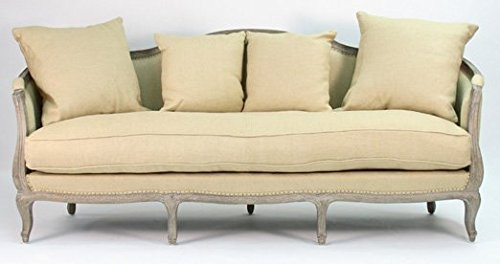 Zentique Maison Sofa, Limed Grey Oak Jute