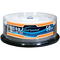 Optical Quantum OQBDRDL06WIPH-25 6X 50GB Inkjet Printable Blu-ray Double Layer Recordable Blank Media, 25-Disc Spindle - White