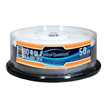 Optical Quantum OQBDRDL06WIPH-25 6X 50GB Inkjet Printable Blu-ray Double Layer Recordable Blank Media , 25-Disc Spindle - White