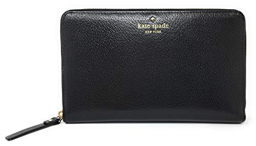 Kate Spade Grand Street Leather Zip Around Travel Wallet & Clutch (Black)