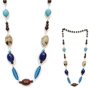 Ange Out Of The City-Collar para mujer de perlas de salto madera, cerámica, color azul-Idea regalo, color marrón y Beige