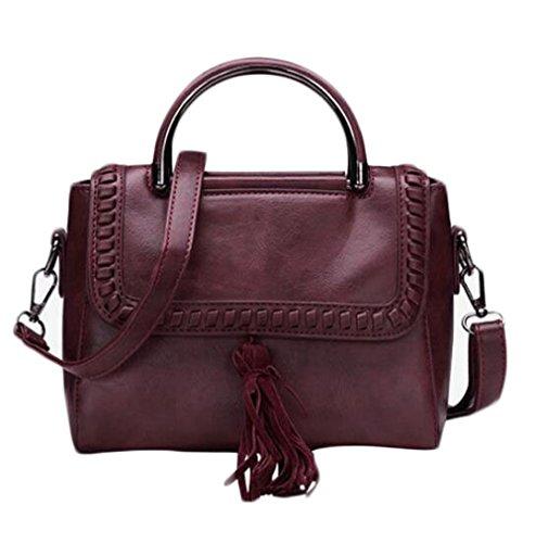 JPFCAK Ms Retro Fashion Bolso De La PU De Las Mujeres Bolso De Cuero Oblicuo Borla Pu Personalidad Bolsos De Hombro Simple A