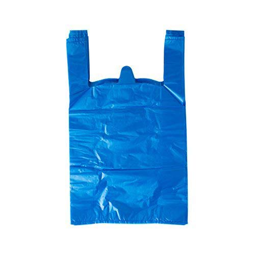 LazyMe 12 x 20 inch Plastic Sturdy T Shirt Bags, Shopping Bags, Merchandise Bags Multi-Use Mudium Size, Blue Plain Grocery Bags, Durable, 12 x 20inch (Blue, 100)