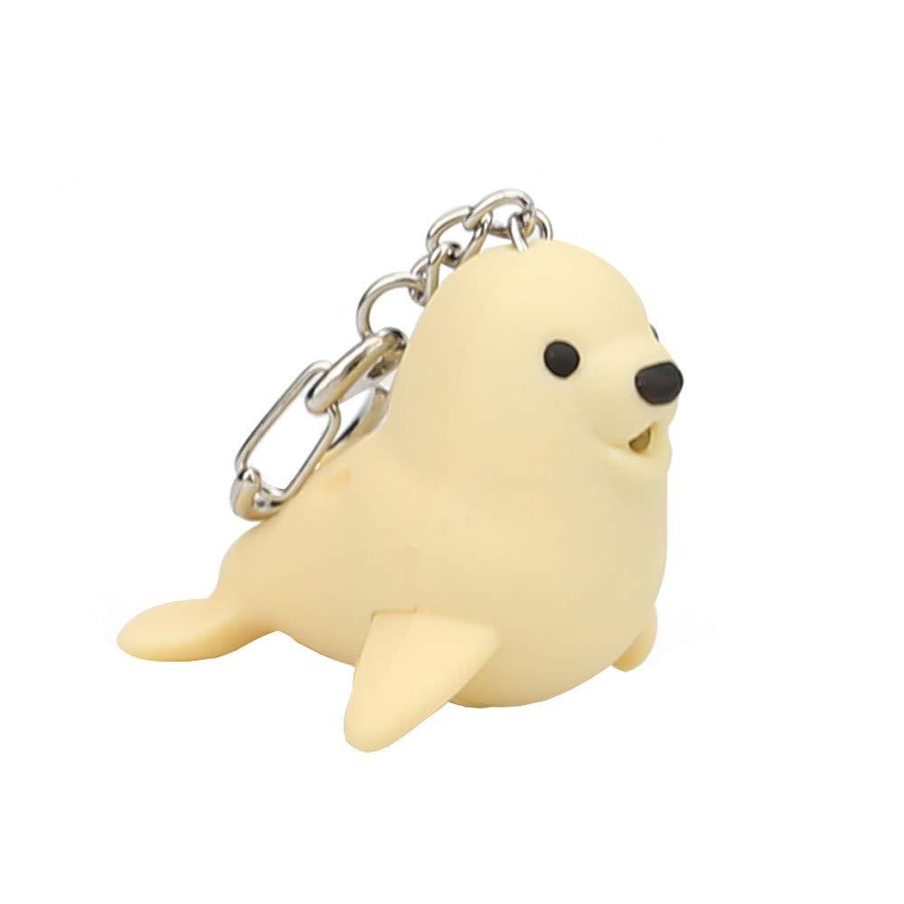 Kasien LED Key Chain, New Fashion Cute Lovely Cartoon Seal LED White Light Flashlight Keychain Keyring with Sound (Yellow)