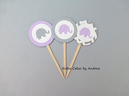 Elephant Cupcake Toppers, Lavender And Gray Baby Shower Decorations, Its A  Girl Shower,