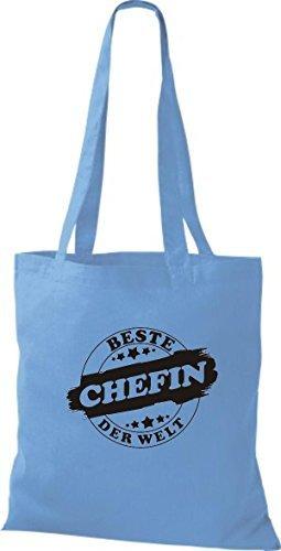 ShirtInStyle Bolso de tela Bolsa de algodón Mejor CHEFIN der Welt azul claro