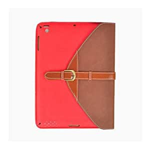 Clelo 360 degree Rotating Belt Leather Case Smart Cover Stand for iPad Mini -Multi Color Options (Red+Brown)