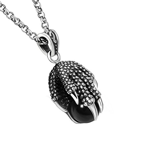 ALBEST Jewelry Men's Stainless Steel Vintage Dragon Claw Black Onyx Ball Necklace Pendant, with Chain