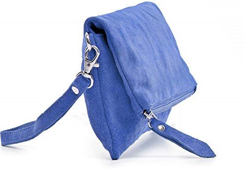 main Bleu Sac Soirée Sac porté CNTMP main Femme Pochette Clutch à tailles Cuir Trois Otxzf