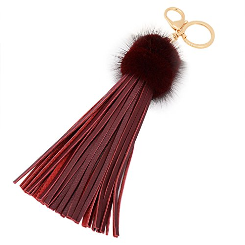 Price comparison product image Aibearty Mink Fur Leather Tassel Keychain Bag charm Pendant Key ring Car Accessory (burgundy)