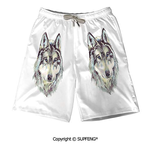 Mens Summer Swim Trunk Hand Drawn Style Canine Breathable Comfortable