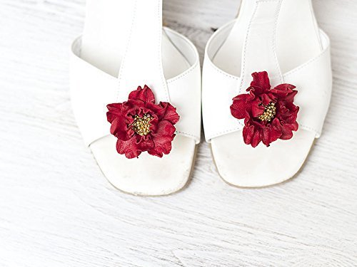 Fragile Red Flower Shoe Clips by Coquet
