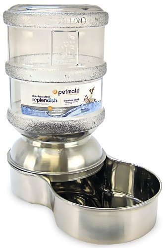 Petmate Stainless Steel Replendish Pet Waterer With Water Bottle and Steel Base, Small by Petmate