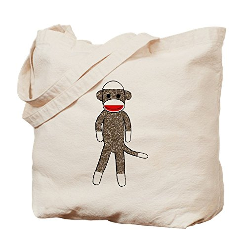 Sock Embroidery Monkey Design (IrmaPetty Sockmonkey-03_Jess - Natural Canvas Tote Bag, Cloth Shopping Bag)