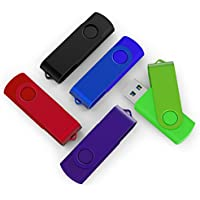 TOPSELL 5 Pack 32GB USB Flash Drives Thumb Drives Memory Stick USB 2.0(5 colors: Black Blue Green Purple Red)