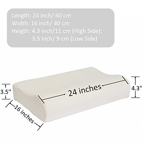 """FabricMCC Memory Foam Contour Pillow, Cervical Support Pillow, Reduce Neck/Shoulder/Back Pain with Hypoallergenic Washable Cotton Cover (60x40 9/11cm)(24""""x16"""" 2.5""""/4.3"""")"""