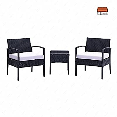 U.Rattan 3PC Rattan Wicker Furniture Table & Chair Set Cushioned Patio Outdoor Garden