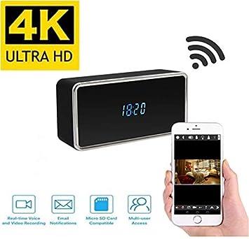 TenSky - Reloj de cámara espía 4K UHD WiFi con visión Nocturna, detección de Movimiento, grabadora de vídeo activada, Compatible con iPhone Android App ...