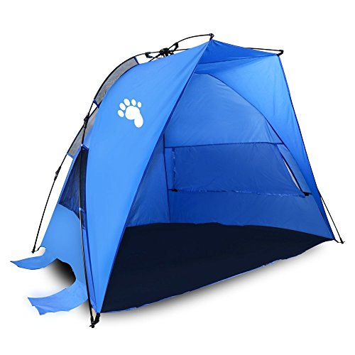 "Bigfoot Outdoor ""Half Moon"" Instant Pop-Up Family Beach Tent/Cabana – 3-4 Persons – Anti-UV – For Sport or Fishing"