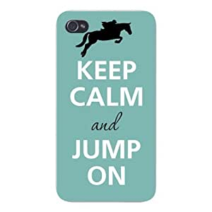 Apple Iphone Custom Case 4 4s White Plastic Snap on - Keep Calm and Jump On Jockey & Horse by Maris's Diary