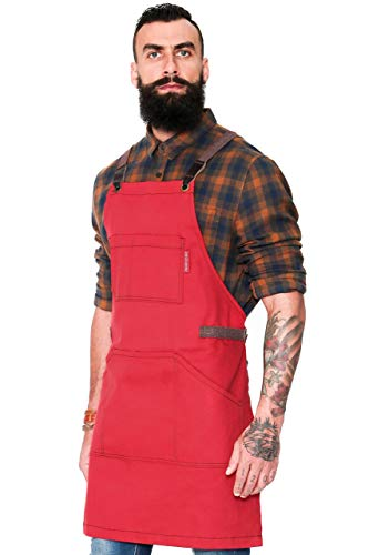 Essential Cherry Red Apron - Cross-Back with Durable Twill and Leather Reinforcement - Adjustable for Men and Women - Pro Chef, Tattoo Artist, Baker, Barista, Bartender, Server Aprons