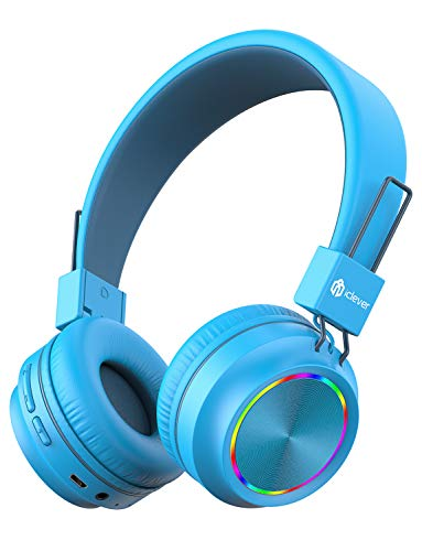 iClever BTH03 Kids Wireless Headphones, Colorful LED Lights Kids Headphones with MIC, 25H Playtime, Stereo Sound…
