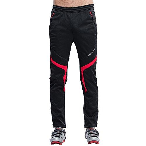 Santic Men's Cycling Trousers Long Pants Fleece Thermal Pants Winter Riding Black