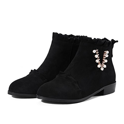 BalaMasa Womens Ankle-High Jewels Ruched Chunky Heels Suede Boots ABL10676 Black GBxDqsV