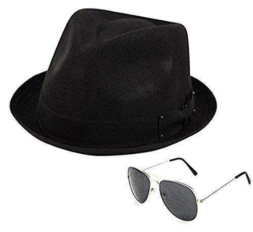 Men's Summer Lightweight Linen Fedora Hat with Aviator Sunglasses, Black, LXL