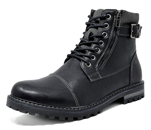 Bruno Marc Men's Engle-05 Black Motorcycle Combat Oxford Boots Size 9 M US