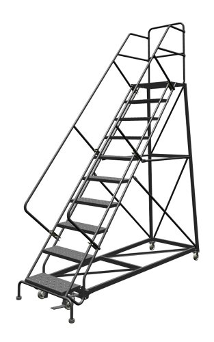 - Tri-Arc KDEC109246 9-Step Forward Descent Safety Angle Steel Rolling Industrial and Warehouse Ladder with Perforated Tread, 24-Inch Wide Steps