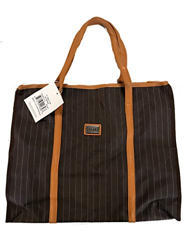 Brown Pinstripe 18 inch Expandable Business Tote Bag with Leatherette Handle, Pockets and Flat Standing Bottom