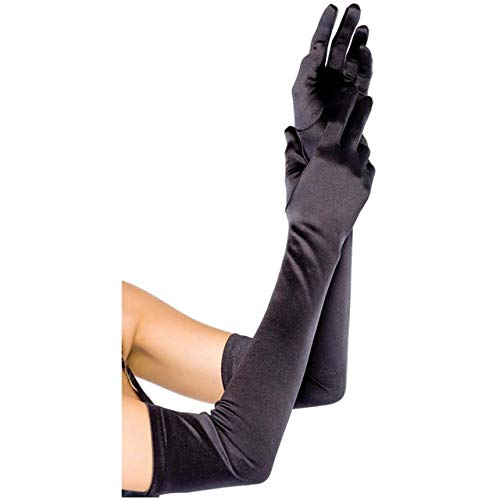 - CHIC DIARY Long Satin Stretch Gloves Above Elbow Bridal Prom Wedding Formal Party Gloves (Black)