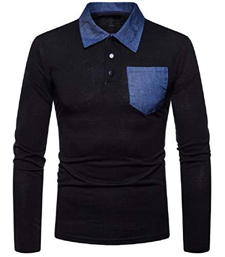 Abetteric Mens Original Fit Down Tops Pocket Trim Pique Polo Shirt Black XL ()