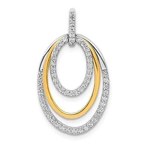 Jewels By Lux 14k Two Tone Gold 1/4ct. Diamond Fancy Triple Oval Pendant