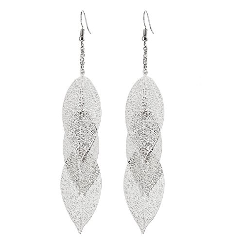 (YAHPERN Filigree Copper Leaf Earrings Fashion Style Leaf Shape Dangle Earring Long Teardrop Dangle Drop Earrings for Women Girls (Silver-Leaf))