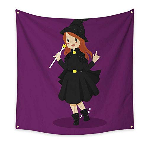 BlountDecor Colorful Tapestry Halloween Witch Costume 55W x 55L Inch -