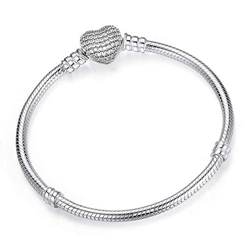 Shallow Time Silver Plated Snake Chain DIY Charm Bracelet & Bangle DIY Fine Bracelet,Sn009,17Cm