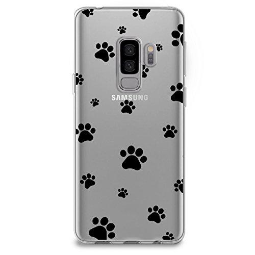 (CasesByLorraine Samsung S9 Plus Case, Cute Pet Paw Prints Clear Transparent Case Flexible TPU Soft Gel Protective Cover for Samsung Galaxy S9 Plus (P84))
