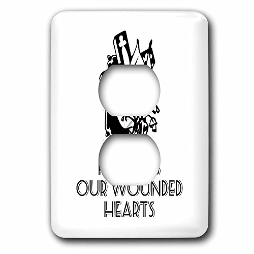 3dRose Alexis Design - Christian - Cross and flowers, the text He heals our wounded hearts on white - Light Switch Covers - 2 plug outlet cover (lsp_286186_6) by 3dRose