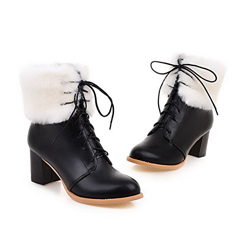 AgooLar Women's Kitten-Heels Solid Closed Round Toe Soft Material Lace-up Boots Black Xac63bk8G