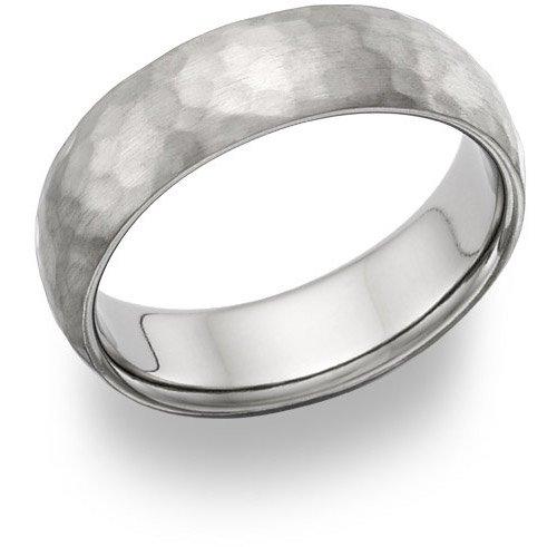 Titanium Hammered Wedding Band Ring