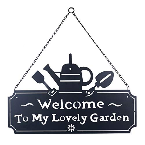 Kleanner Metal Garden Hanging Welcome Wall Decor, Decorative Wall Mount Plaque Door Sign with Chain, Iron Welcome to My Lovely Garden Home Word Decor, Black from Kleanner