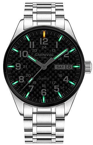 Swiss Brand Analog Quartz Watch Tritium Gas Luminous Silver Stainless Steel Military Watch for Men (Green Light)