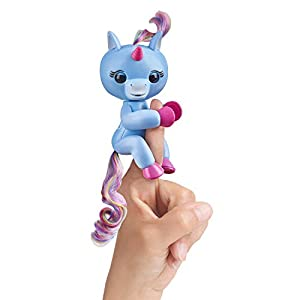 Fingerlings Baby Unicorn – Stella (Periwinkle Blue with Rainbow Mane & Tail) – Friendly Interactive Toy by WowWee, One Size