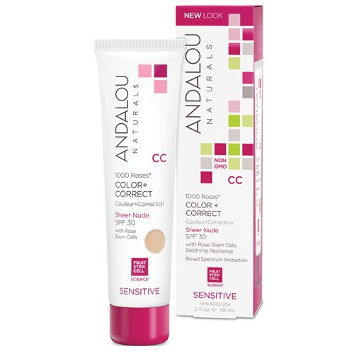Andalou Naturals Color plus Correct - Sheer Tan with SPF 30 With Rose Stem Cells - 2 oz/58 ML - Complements most skin tones Comfortable for everyday by Andalou Naturals