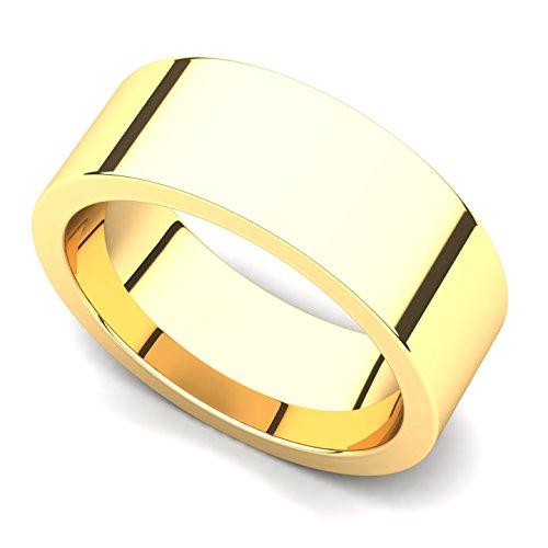 18k Yellow Gold 7mm Classic Plain Flat Wedding Band Ring, 9