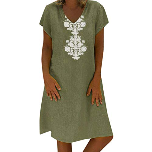 (Sunhusing Ladies Summer Loose Casual Linen Dress V-Neck Bohemian Print Short Sleeve Dress Green)